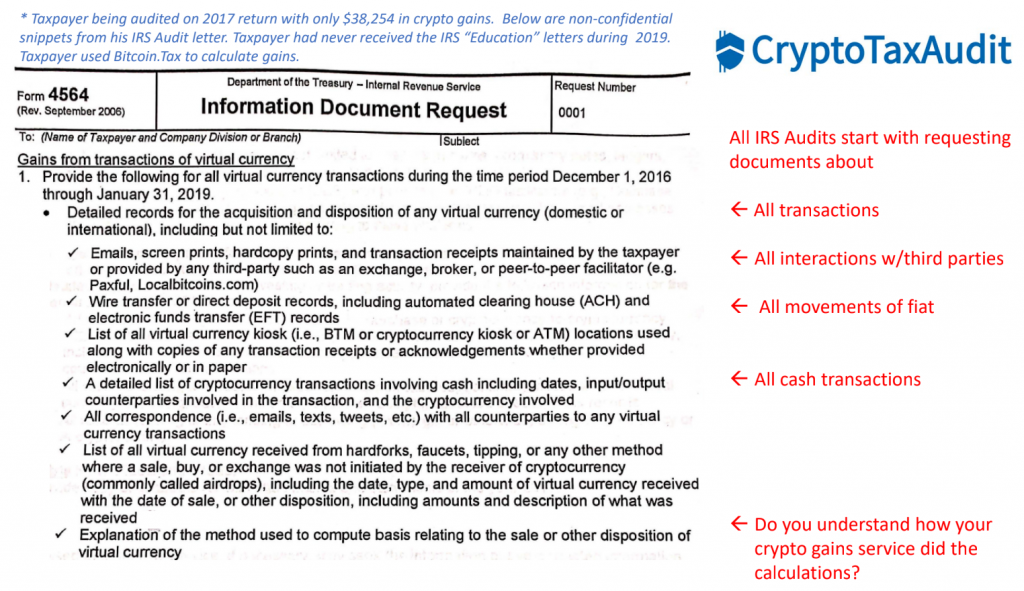How the IRS Audits Cryptocurrency Tax Returns - Filing Expert Shares Example, Insights on AML Focus