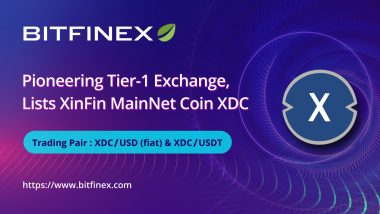 Bitfinex, a Pioneering Tier-1 Exchange, Lists XinFin Network's Native XDC Token